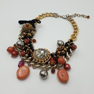 Peeptoe Gold Tone Multi Colour Silver/ Red Bead & Gem Statement Necklace